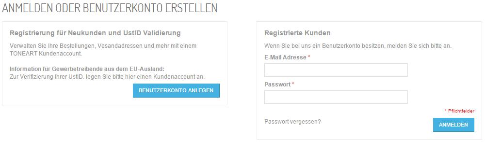 Registierung für Neukunden